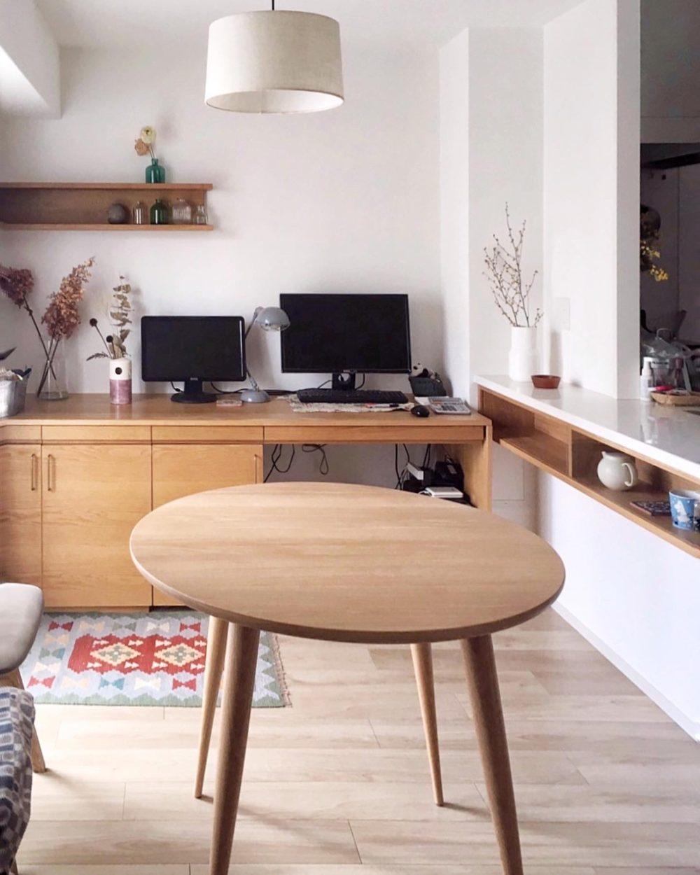 オーダー家具・丸テーブル・カウンター下小棚
